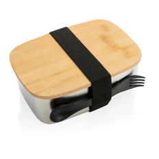 Ланч-бокс из нержавеющей стали с бамбуковой крышкой XD Collection, черный / серебристый фото