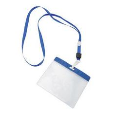 Ланъярд с держателем для бейджа, синий фото