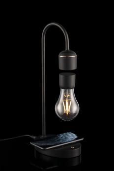 Левитирующая лампа с функцией беспроводной зарядки leviStation, чёрная фото