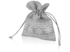 Мешочек подарочный новогодний с узором, серый фото