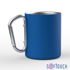 Кружка с карабином Юта, покрытие soft touch, 0,3 л., синий фото