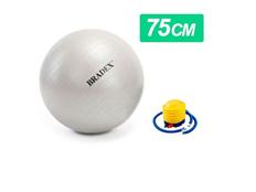 Мяч для фитнеса Fitball, диаметр 75 см с насосом, серый фото
