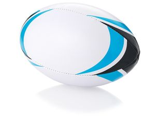 Мяч для регби Stadium, черный, белый, голубой фото