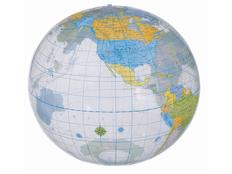 Мяч надувной пляжный Globe, прозрачный, разноцветный фото
