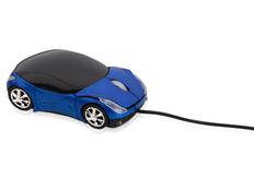 Мышь проводная оптическая в виде автомобиля Спорткар, черная/синяя фото