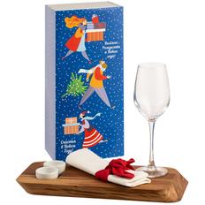Набор Ace of Grace: сервировочная доска, бокал для вина, 2 соусника и салфетка, крафт / белый фото