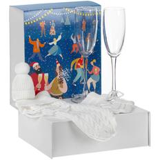 Набор Albus: 2 бокала для шампанского, чехол для бутылки и елочная игрушка, белый фото