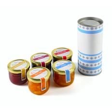 Набор алкогольного варенья из 5 банок с разными вкусами, в подарочной упаковке фото
