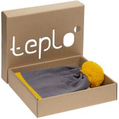 Набор teplo Amuse: шапка, шарф, желтый/ серый фото