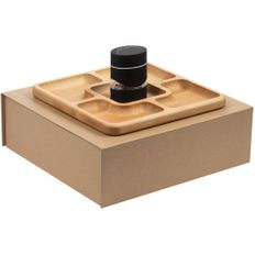 Набор Appetizer: менажница деревянная, мельница двойная для соли и перца TasteFull, светлое дерево / черный фото
