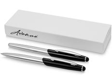 Набор ручек Avenue Geneva: ручка шариковая металлическая, ручка роллер, черный / серый фото