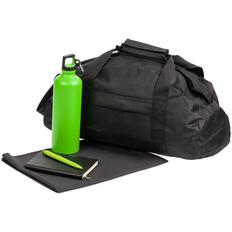 Набор Back on Track: спортивная сумка, полотенце, ежедневник, бутылка, ручка, чёрный / зеленый фото