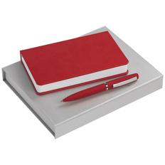 Набор Intact: ежедневник Basis Mini, ручка шариковая Bolt Soft Touch, красный фото