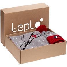 Набор teplo Birds and Berries: джемпер, шапка, шарф, варежки, серый/ красный фото