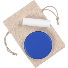 Набор Blush: зеркало с подставкой для телефона Self, гигиеническая помада Bobeoby, холщовый мешок Foster Thank, синий / белый фото