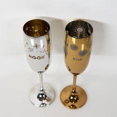 Набор бокалов для шампанского Moon&Sun, 2 шт., золотой/ серебряный фото