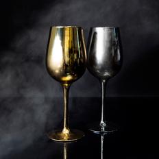 Набор бокалов для вина Moon&Sun, 2 шт., золотой/ серебряный фото