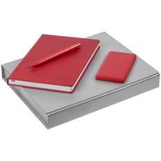Набор Brand New Energy: ежедневник New Brand, внешний аккумулятор Easy Trick 4000 mAh, ручка шариковая Prodir DS4 PMM-P, красный фото