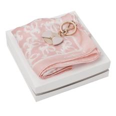 Набор Cacharel: брелок, платок шейный шелковый, розовый/ белый фото