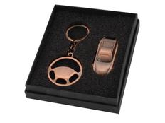 Набор: брелок Руль, флеш-карта USB 2.0 на 4 Gb в форме автомобиля фото
