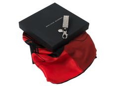 Набор Jean-Louis Scherrer: брелок, шелковый платок, красный/ чёрный фото