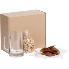 Набор Brewster: пивная кружка, орехи, мясные снеки, прозрачный / крафт фото