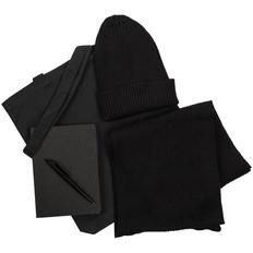 Набор подарочный Brooklyn: шапка, шарф, сумка, ручка, ежедневник, черный фото