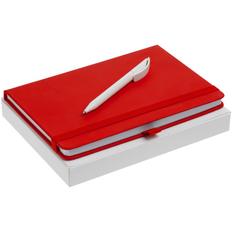 Набор Buffer Antibacterial: блокнот Buffer с антибактериальным покрытием, ручка шариковая Prodir DS3 TPP, красный фото