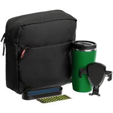 Набор Buggy: термостакан Underway, держатель для телефона Buddy Holdy, несессер Locus, парковочная визитка Litera, черный / зеленый фото