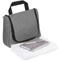 Набор Business Travel: несессер Unit Simon, полотенце Embrace, блокнот Convex Mini, ручка шариковая Popular, серый фото