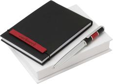 Набор Cacharel: дизайнерский блокнот, шариковая ручка, черный/ красный фото