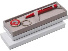 Набор Cacharel: ручка шариковая металлическая, брелок с флеш-картой 4 Гб, красный фото