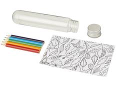 Набор для раскрашивания Cami mini doodle: раскраска, цветные карандаши, прозрачный бокс фото