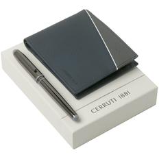 Набор Cerruti 1881: кошелек и ручка-роллер, синий фото