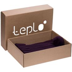 Набор teplo Chain: шапка, шарф, баклажановый фото