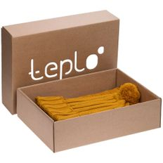 Набор teplo Chain: шапка, шарф, горчичный фото