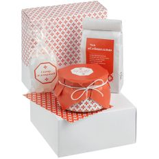 Набор чайный Tropic Boost: чай, крем-мед, леденцовый сахар, белый / оранжевый фото