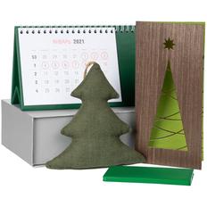Набор Charge Your Year: календарь настольный, внешний аккумулятор 4000 mAh, USB-кабель, открытка, подвеска, зеленый фото