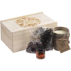 Набор «Чаща событий»: свеча Birch Bark, варенье, черный чай, вяленая клюква, коричневый фото