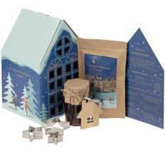 Набор Christmassy: смесь для имбирного печенья, набор для декора, варенье, деревянная подвеска, синий фото
