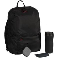 Набор City Pilgrim: термостакан Forma, внешний аккумулятор Pebble 5200 mAh, колонка портативная Chubby, рюкзак Burst Locus, черный фото