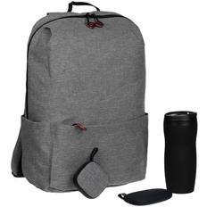 Набор City Pilgrim: термостакан Forma, внешний аккумулятор Pebble 5200 mAh, колонка портативная Chubby, рюкзак Burst Locus, серый фото