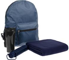 Набор в рюкзаке City Tour: зонт складной Unit Basic, термостакан Maybole, плед флисовый Warm&Peace, темно-синий фото