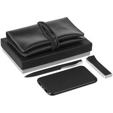 Набор Classy: внешний аккумулятор Uniscend Half Day Compact 5000 mAh, флешка Memo 8 Гб, ручка шариковая S45 ST, органайзер для зарядных устройств Apache, черный фото