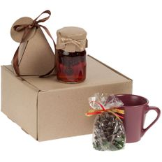 Набор Cone-Teaki: кружка Modern Bell, варенье Jammy, чай Breakfast Tea, свеча, бордовый / крафт фото