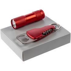 Набор Crafty: фонарик Aurora, мультитул Opener, красный фото