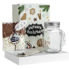 Набор Daydreamer: стеклянный стакан с металлической соломинкой, горячий шоколад, маршмеллоу, прозрачный / белый фото