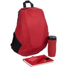 Набор Daypack: рюкзак, термостакан Forma, ежедневник Twill, ручка шариковая Crest, чехол для пропуска, ретрактор Attach, красный фото