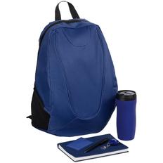 Набор Daypack: рюкзак Unit Beetle, термостакан Forma, ежедневник Twill, чехол для пропуска Twill, ретрактор Attach, ручка шариковая Crest, синий фото