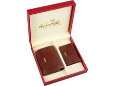 Набор Diplomat: дамское портмоне, визитница Diplomat, красный/ коричневый фото